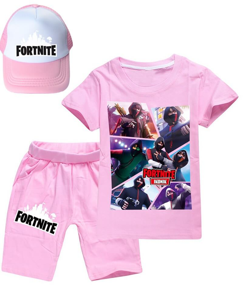 Fortnite Ikonik Print Girls Boys Cotton T Shirt And Shorts Outfit Sets