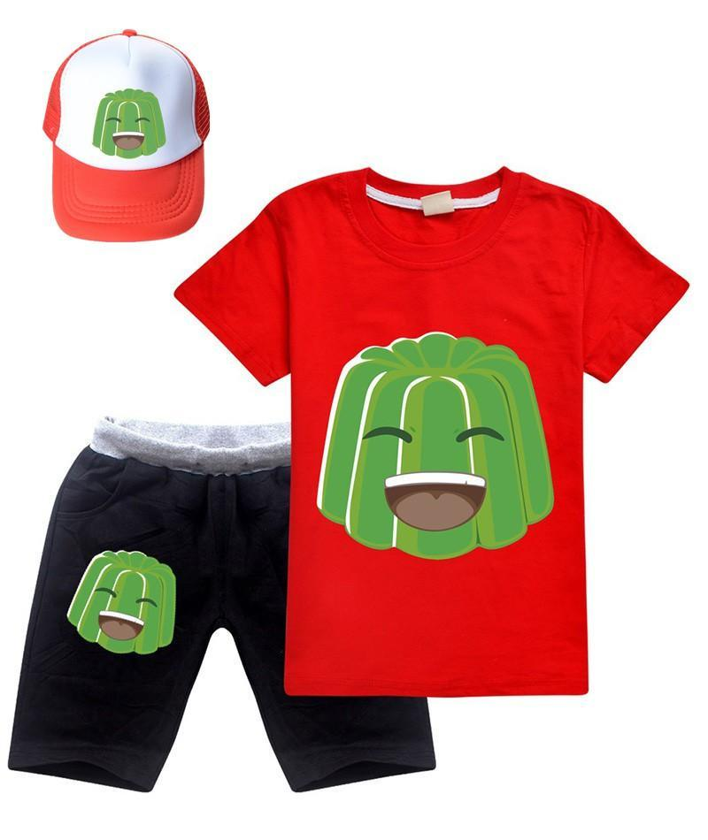 Girls Boys Jelly Green Printed Cotton T Shirt N Shorts Outfit With Hat