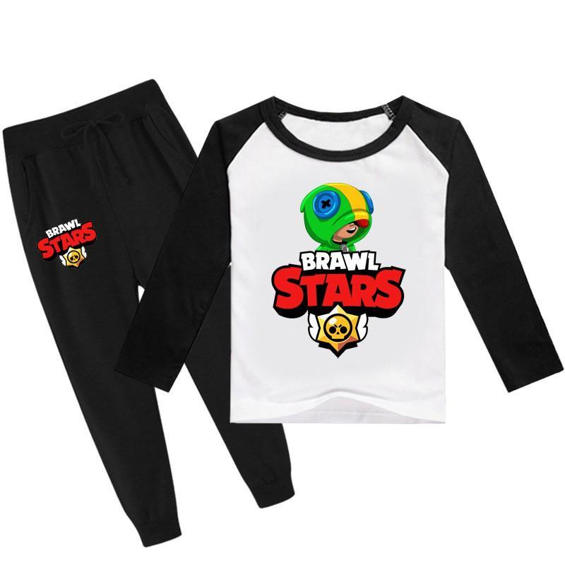 Brawl Stars Print Boys Girls Cotton Long Sleeve T Shirt And Sweatpants