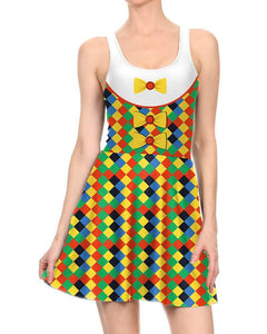Clown Print Sleeveless Halloween Jumper Dress White Yellow