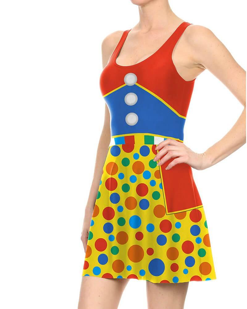 Clown Print Sleeveless Jumper Dress