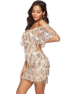 Champagne Sequin Fringe Flutter Sleeves Short Bardot Party Dress