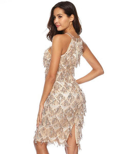 Beige Halter See Through Sequin Fringe Party Prom Pencil Dress