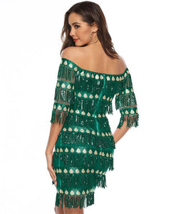 Green Off Shoulder Tiered Sequin Fringe Party Dance Bardot Dress