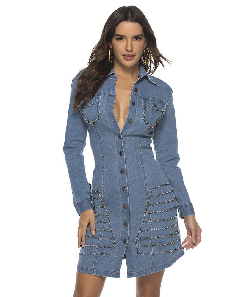 Blue Button Through Studded Denim Shirt Dress