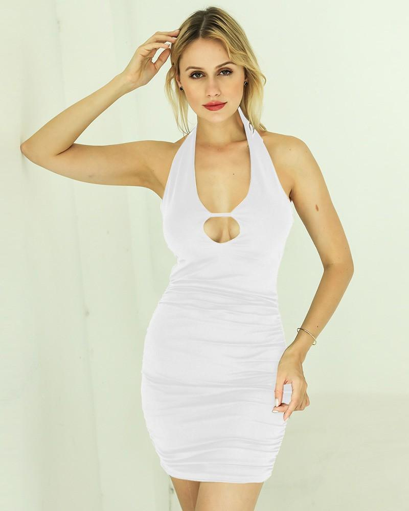 Halter Keyhole Front Strappy Back Ruched Short Bodycon Party Pub Dress