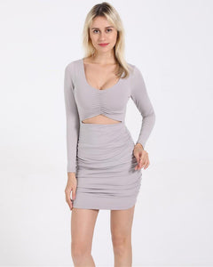 Grey Long Sleeve Cut Out V Neck Ruched Short Bodycon Dress