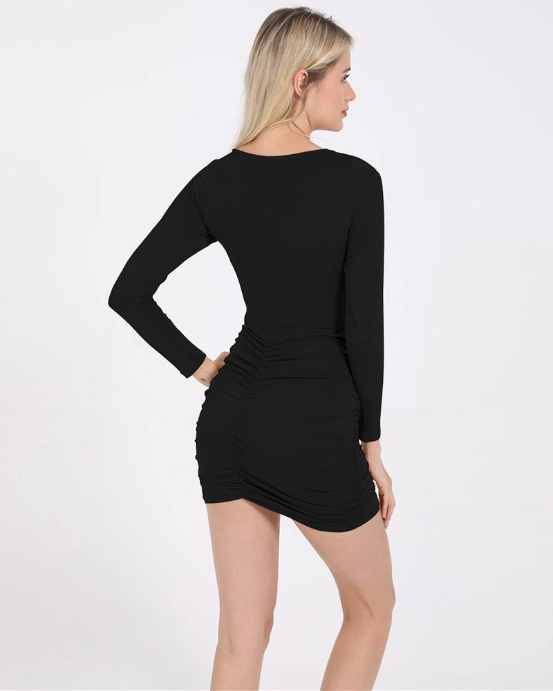 Black Cut Out V Neck Long Sleeve Ruched Short Bodycon Dress - pinkfad