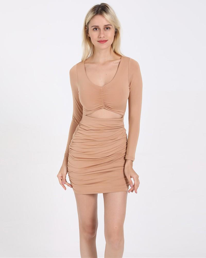 Cut Out V Neck Long Sleeve Ruched Short Bodycon Dress Khaki