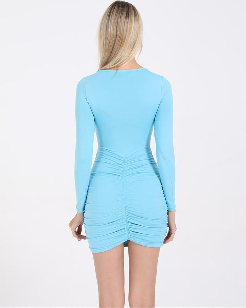 Blue Cut Out V Neck Long Sleeve Ruched Short Bodycon Dress