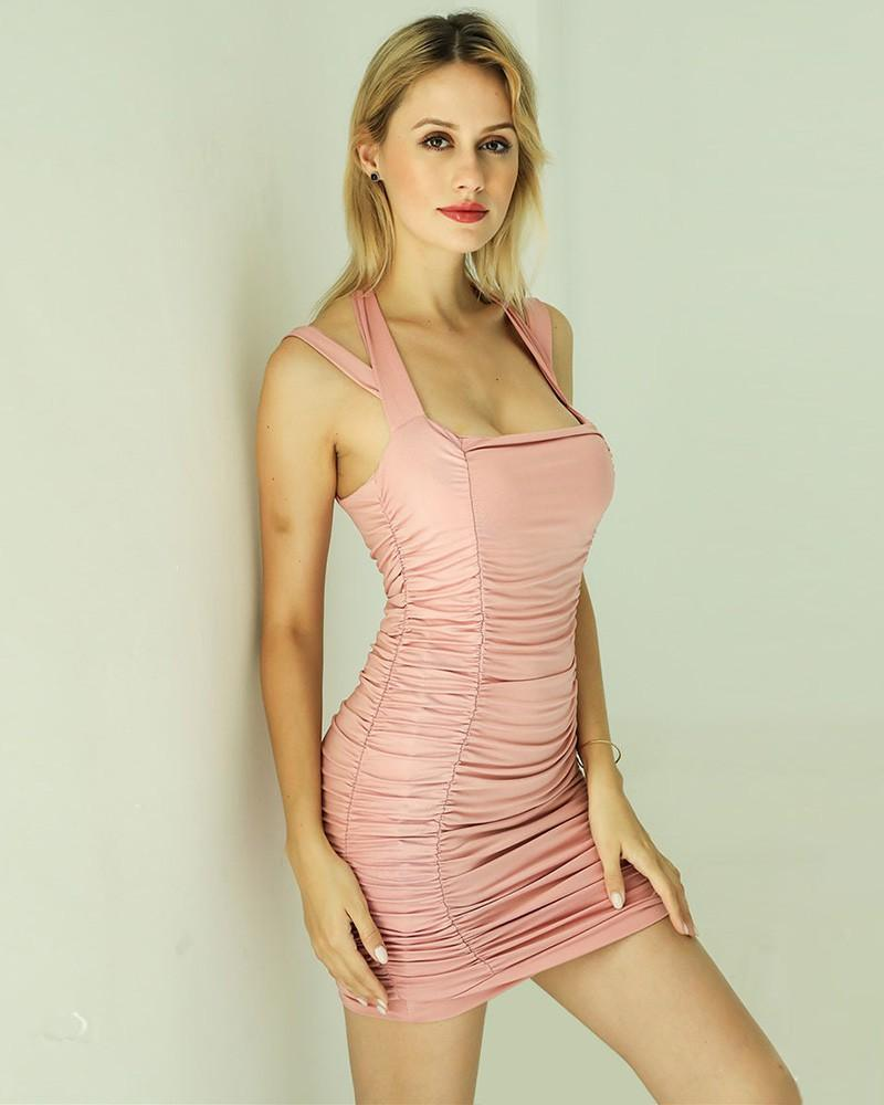 Halter Strappy Shoulder Ruched Pink Short Bodycon Party Pub Dress