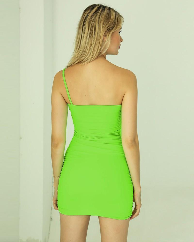 One Shoulder Green Ruched Short Bodycon Slip Dress