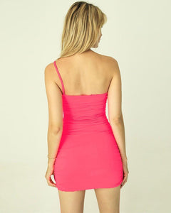 Pink One Shoulder Ruched Short Bodycon Slip Dress