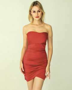 Rust Red Solid Color Strapless Wrap Short Ruched Party Pub Dress