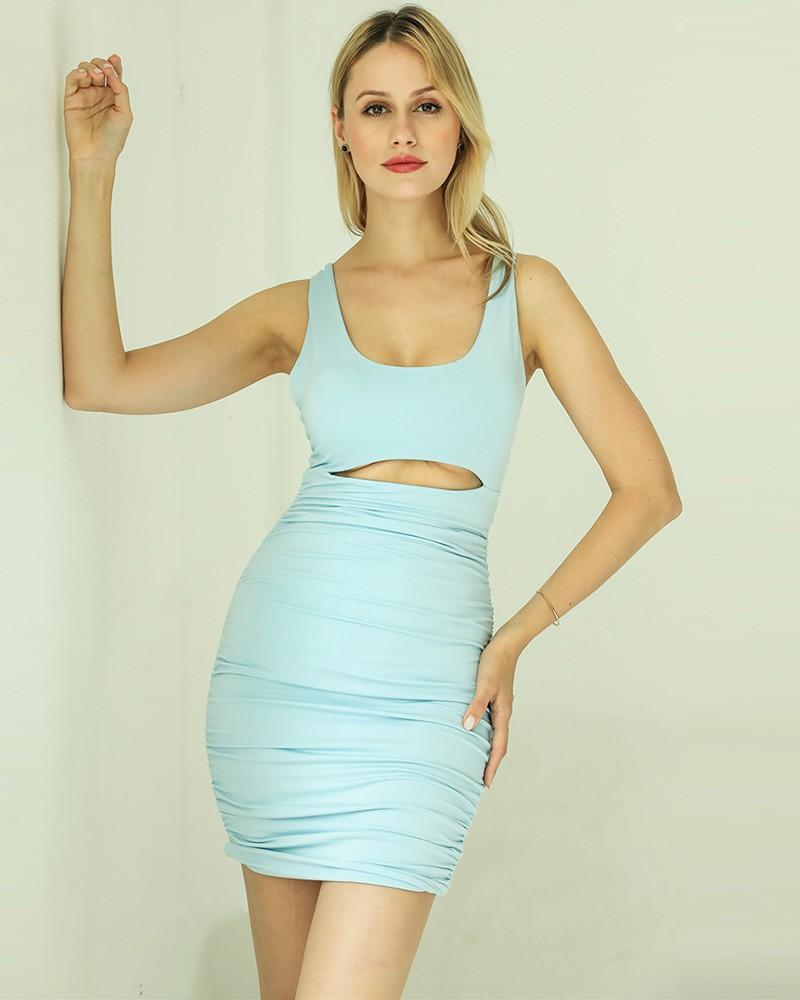 Cut Out Sleeveless Solid Color Ruched Short Bodycon Dress