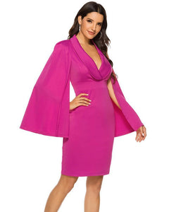 Big Long Cape Sleeves Plunge Collared Wrap Party Pencil Tux Dress