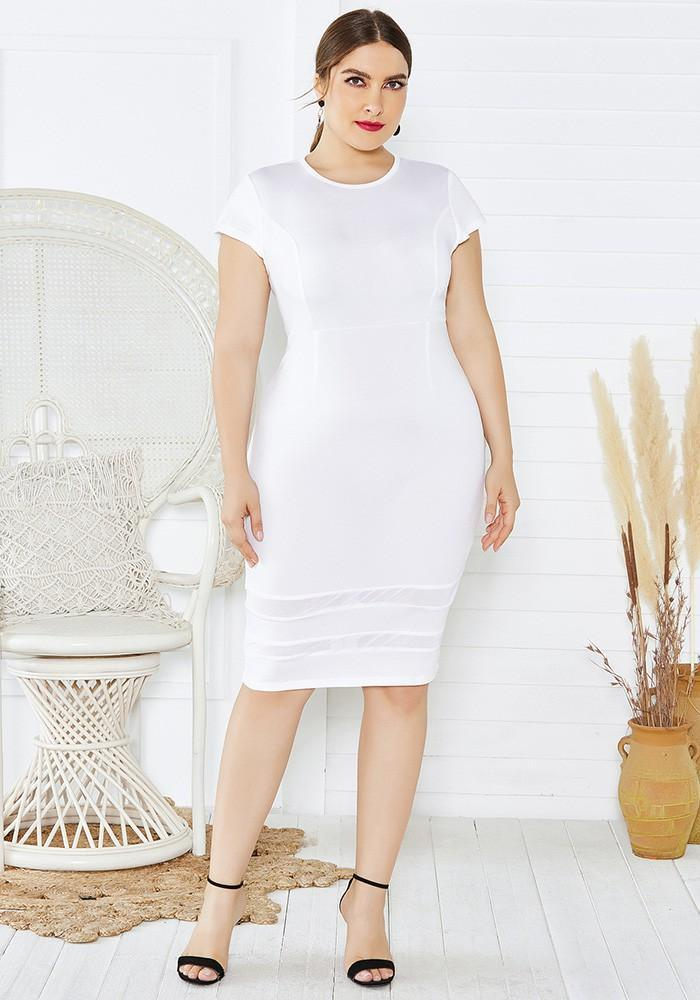 Plus Size Mesh Insert Short Sleeve White Bodycon Party Pencil Dress