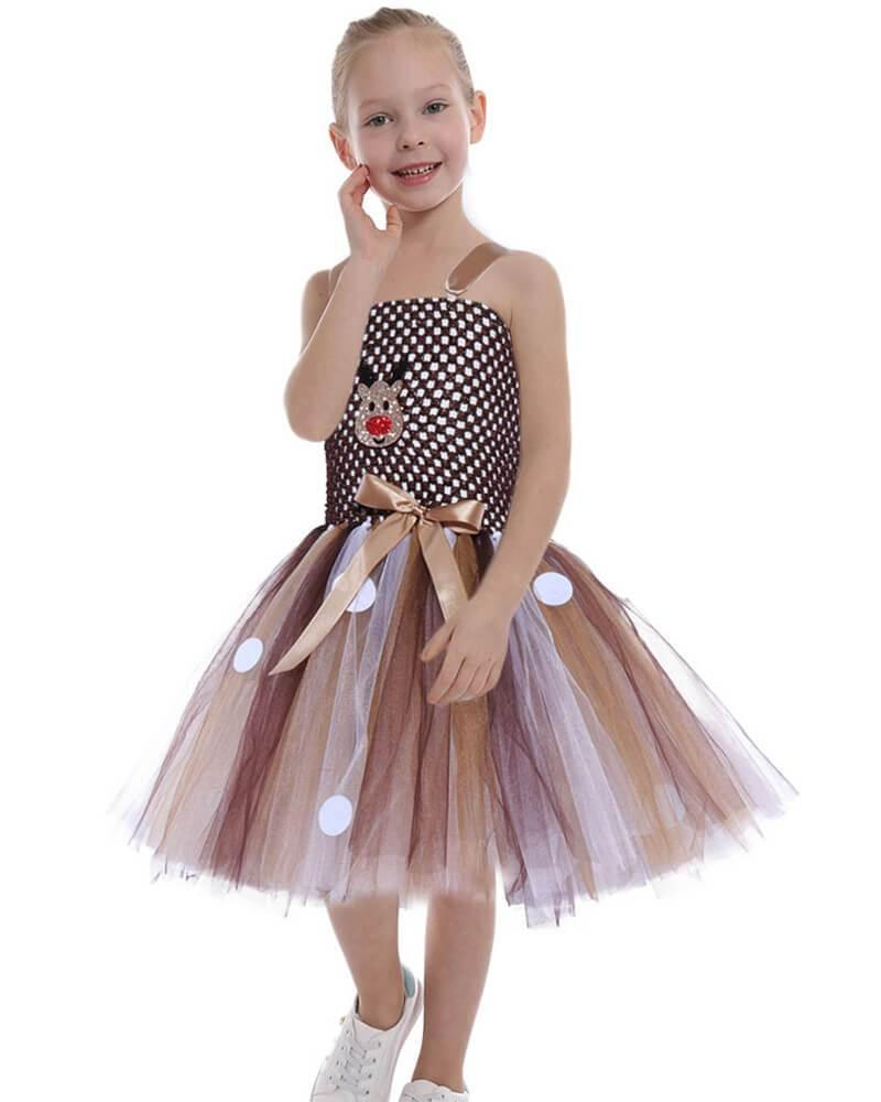 Brown Christmas Rudolph The Red Nosed Reindeer Tulle Lace Dress