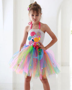 Girls Halter Colorful Rainbow Lollipop Tulle Lace Dress