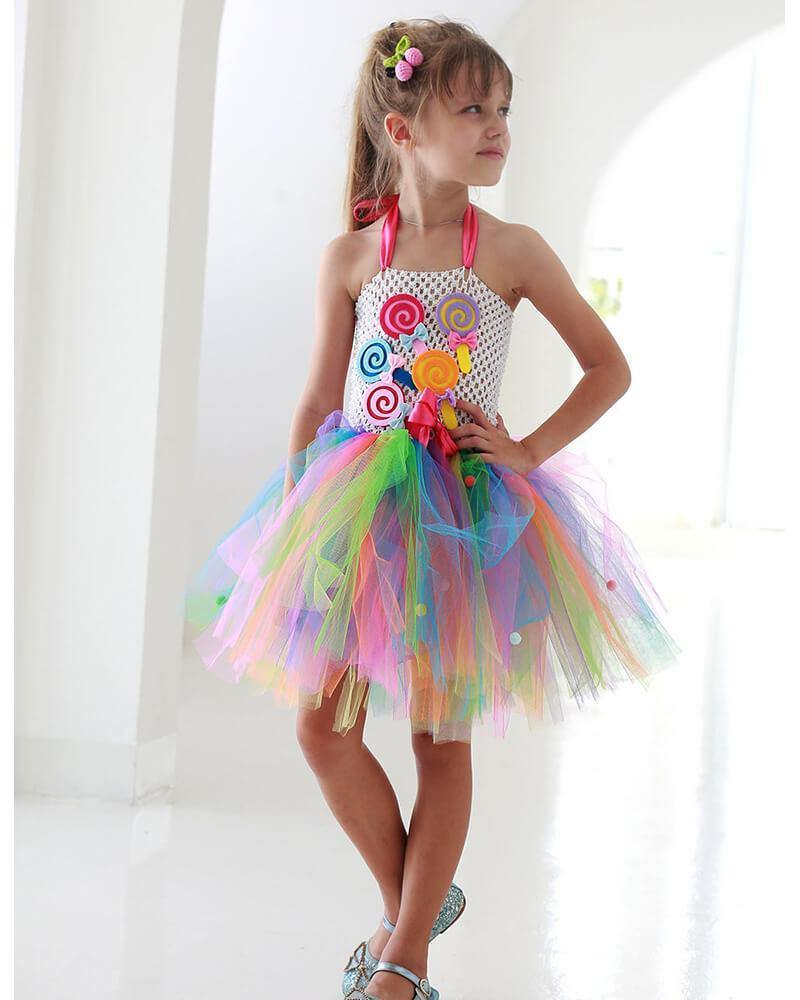 Girls Halter Colorful Rainbow Lollipop Tulle Lace Dress - pinkfad