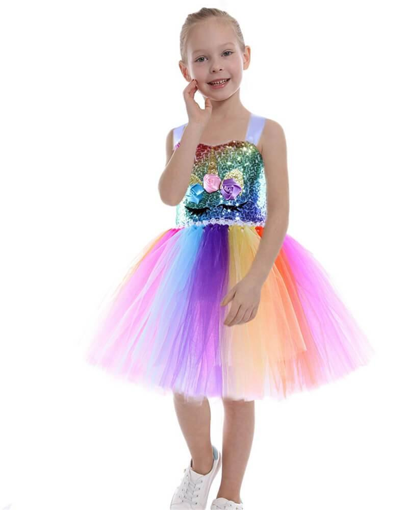 Girls Rainbow Sequins Tulle Unicorn Dress Party School Play Costume