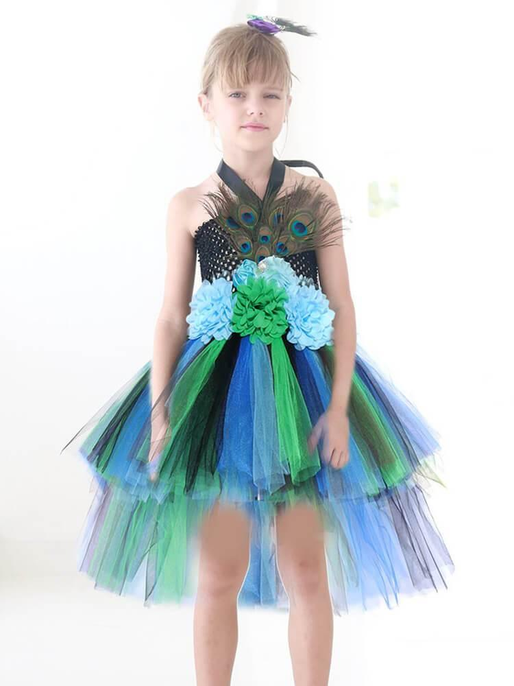 Girls Halter Knit Peacock Tiers Tutu Dress Party School Play Costume