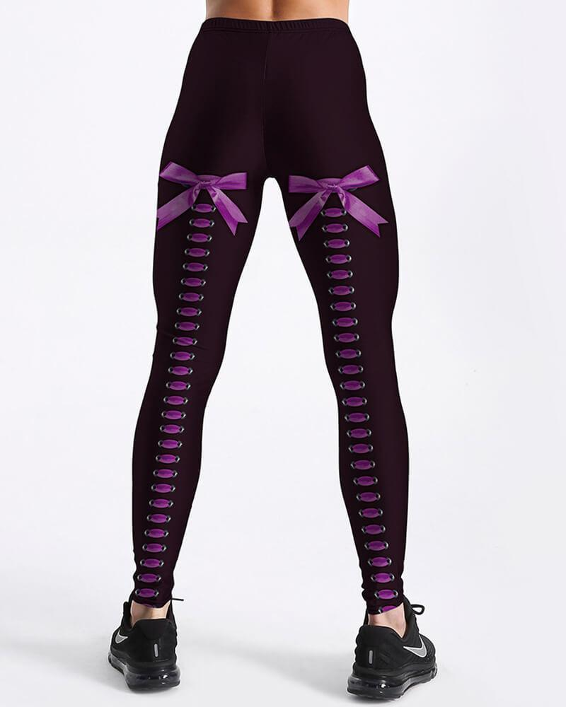 Purple Laceup Leg Tie A Bow Back Prints Design Black Leggings
