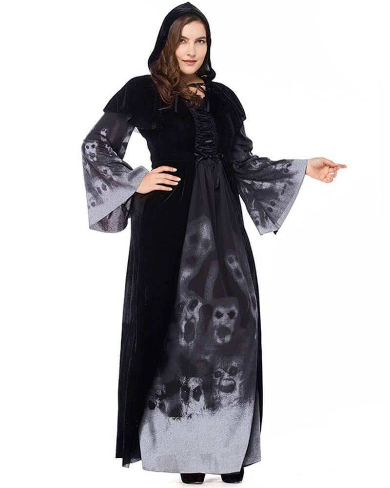 Evil Skulls Dark Wicked Witch Adult Womens Scary Halloween Costume