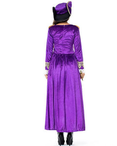 Deluxe Adult Womens Pirate Captain Halloween Costume Purple