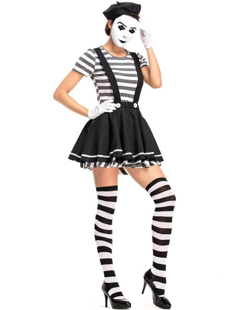 Adult Womens Clown Halloween Costume Black And White Striped