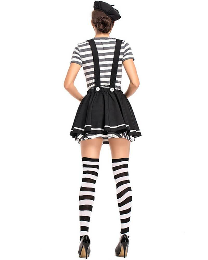 Adult Womens Clown Halloween Costume Black And White Striped - pinkfad