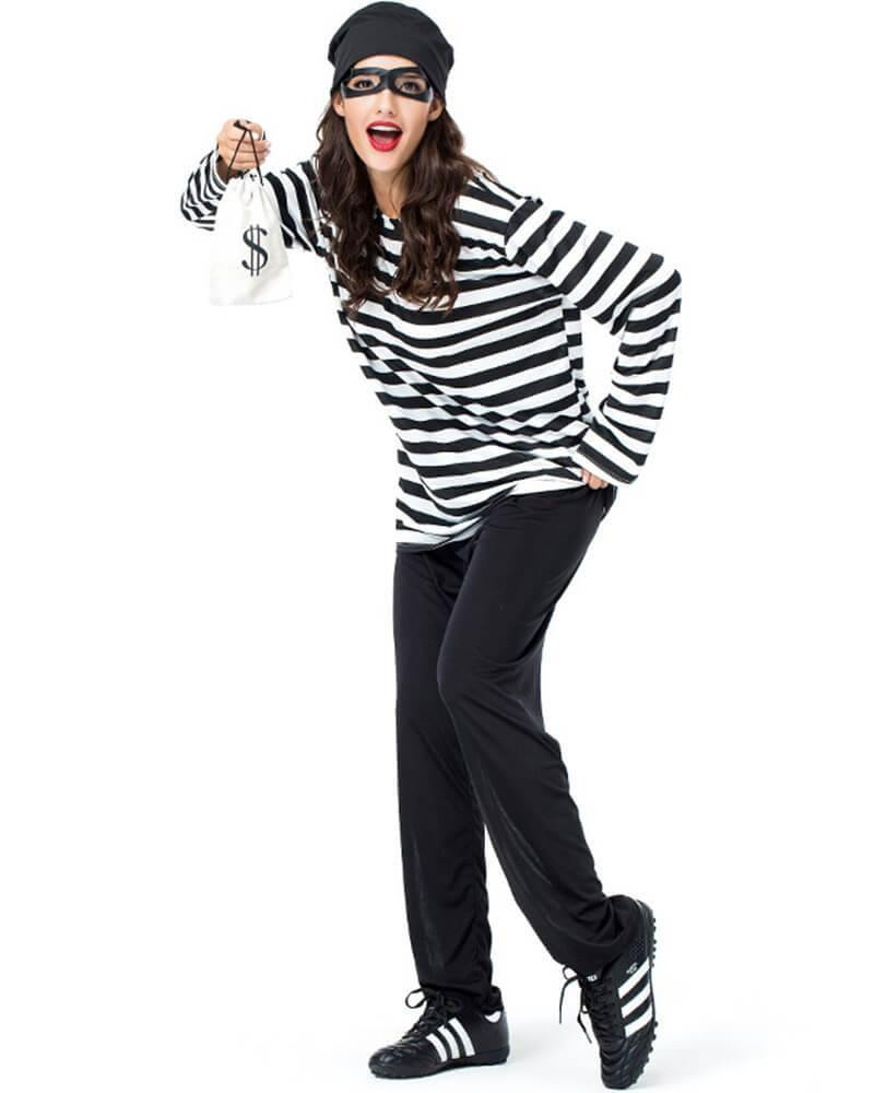 Adult Womens Bank Robber Prisoner Halloween Costume