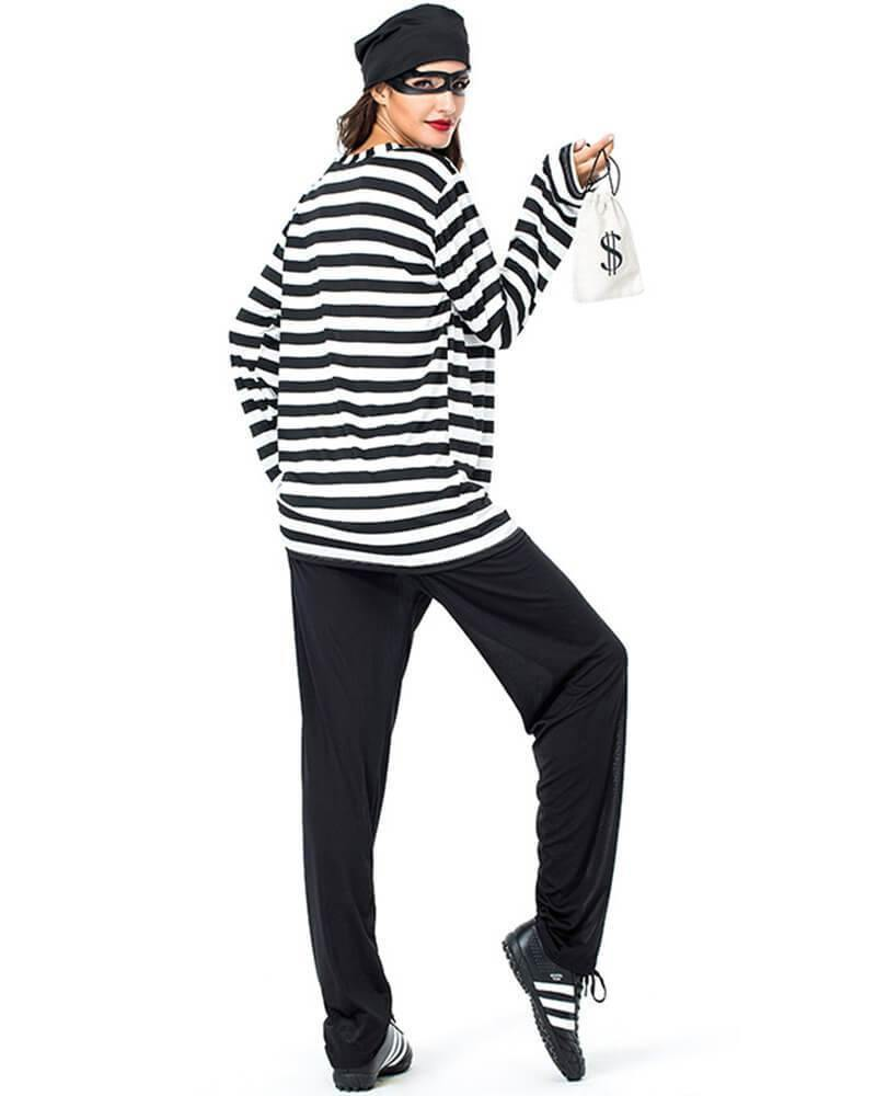 Adult Womens Bank Robber Prisoner Halloween Costume - pinkfad