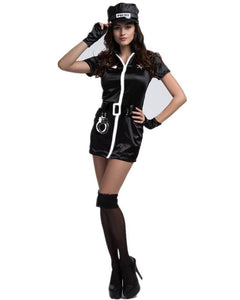 Adult Police Woman Black Zippered Dress Bad Cop Costume