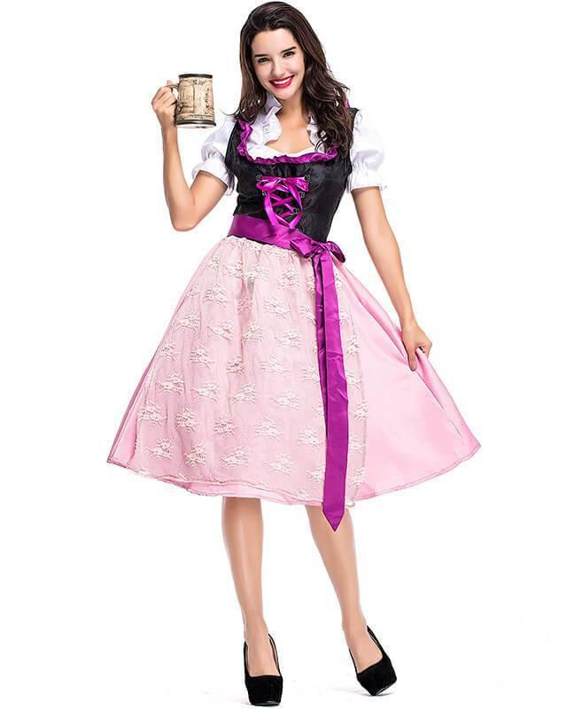Adult German Beer Girl Lisa Pink Purple Maid Costume