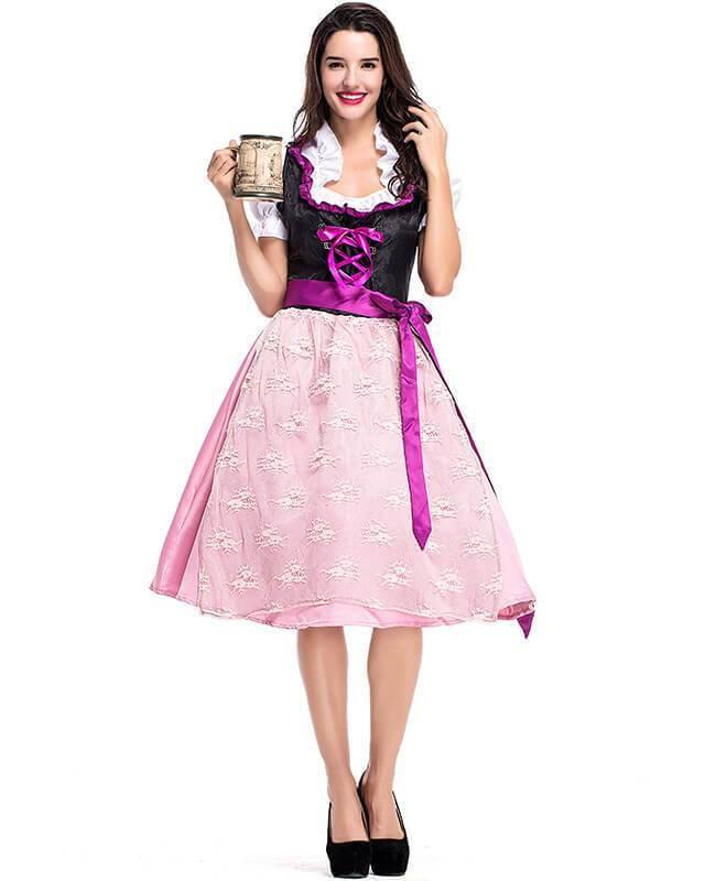 Adult German Beer Girl Lisa Pink Purple Maid Costume - pinkfad