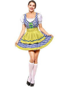 Oktoberfest Traditional German Beer Girl Adult Halloween Costume Blue