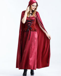 Fancy Red Riding Hood Maxi Gown With Robe Adult Halloween Costume