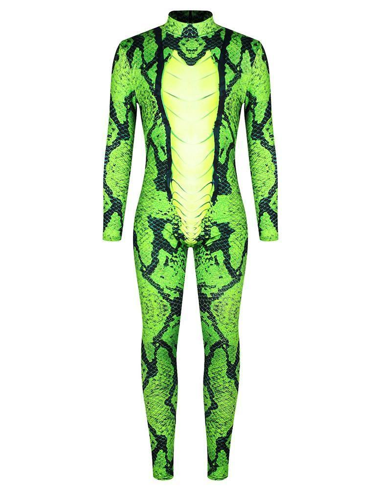 Green Snakeskin Snake Cosplay Adult Mens Bodysuit Jumpsuit Costume - pinkfad
