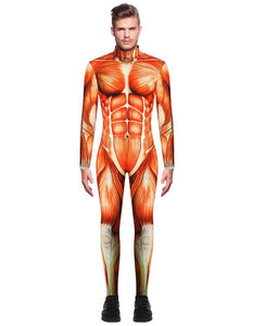 Adult Mens Exposed Human Muscle Full Bodysuit Jumpsuit Costume