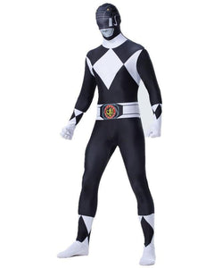 Mighty Morphin Black Power Ranger Zentai super elastic Mens Costume