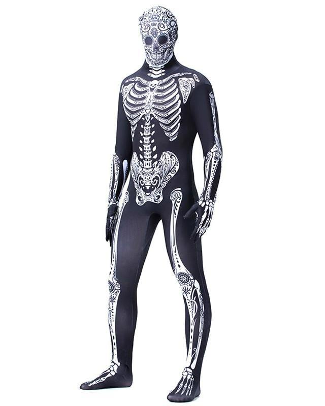 Skeleton Zentai Adult Mens super elastic Scary Halloween Costume - pinkfad