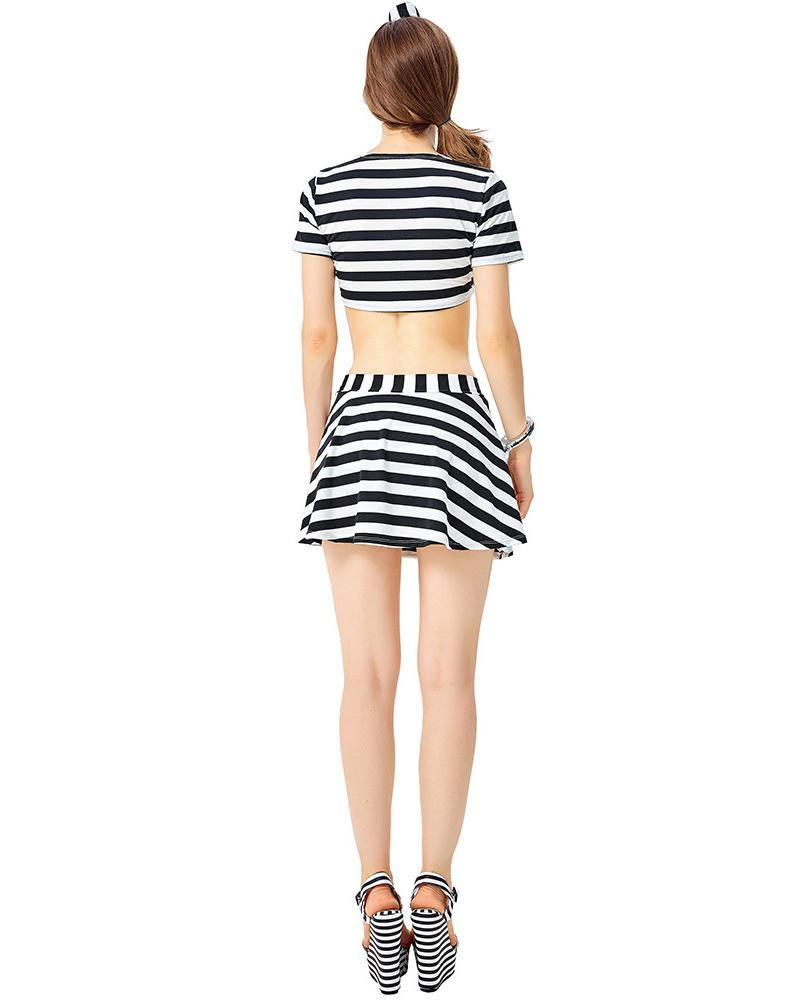 Female Prisoner Costume Stripe Crop Top And Culottes 2 Pieces - pinkfad