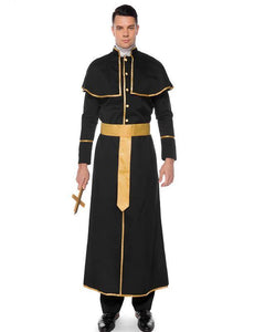 Adult Mens Halloween Catholic Priest Robe Costume