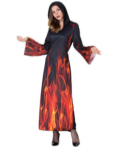 Adult Womens Halloween Flame Demon Surtur Dress Costume