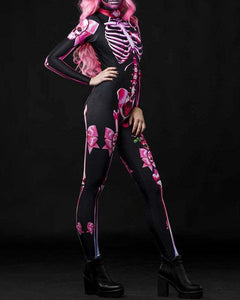 Adult Womens Scary Halloween Pink Butterfly Skeleton Catsuit Costume