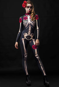 Adult Womens Halloween Scary Rose Skeleton Catsuit Costume