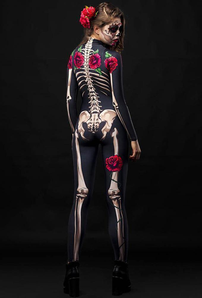 Adult Womens Halloween Scary Rose Skeleton Catsuit Costume - pinkfad