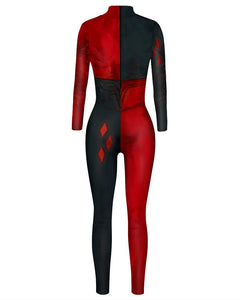 Womens Suicide Squad Harley Quinn Unitard Halloween Catsuit Costume