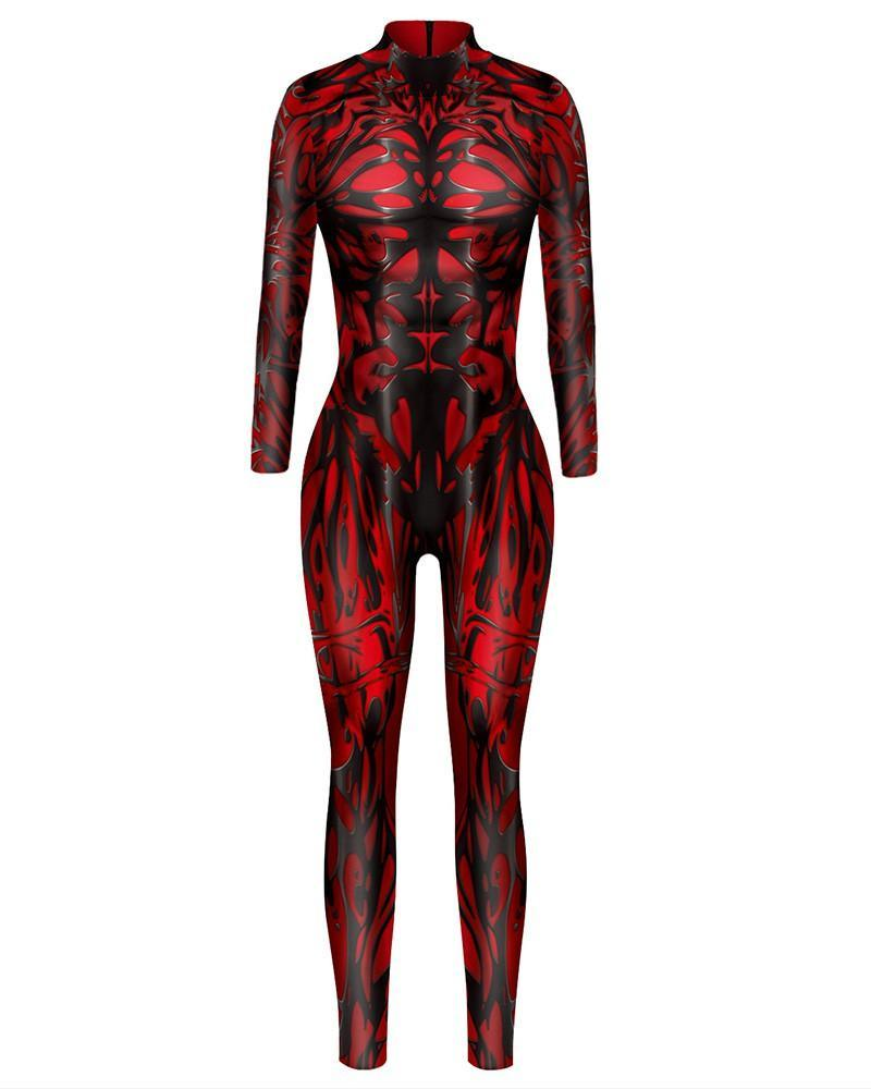 Womens Red Fire Flaming Cosplay Dance Unitard Halloween Costume